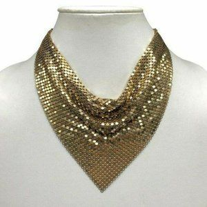 Whiting and Davis Gold Tone Mesh Bib Bandana Neckl